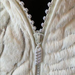 Ivory embellished faux fur sweater